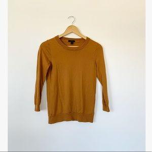 J. Crew Mustard Brown Merino Wool Tippi Sweater